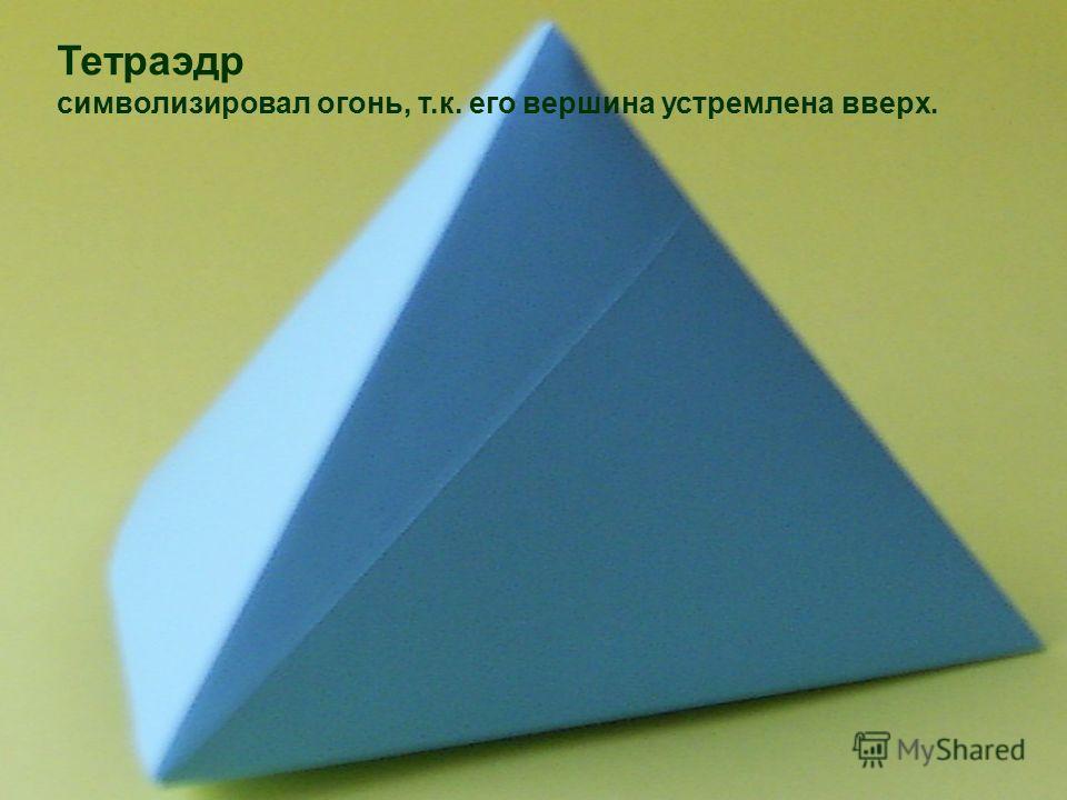 Тетраэдр символизировал огонь, т.к. его вершина устремлена вверх.