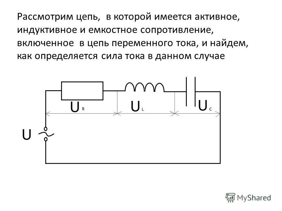 Рассмотрим цепь, в которой имеется активное, индуктивное и емкостное сопротивление, включенное в цепь переменного тока, и найдем, как определяется сила тока в данном случае