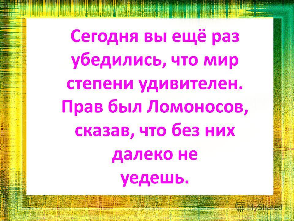 Сегодня вы ещё раз убедились, что мир степени удивителен. Прав был Ломоносов, сказав, что без них далеко не уедешь.
