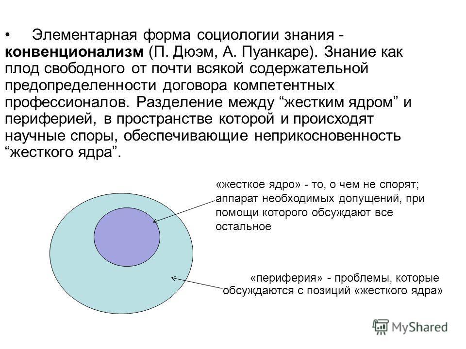 Элементарная форма социологии знания - конвенционализм (П. Дюэм, А. Пуанкаре). Знание как плод свободного от почти всякой содержательной предопределенности договора компетентных профессионалов. Разделение между жестким ядром и периферией, в пространс