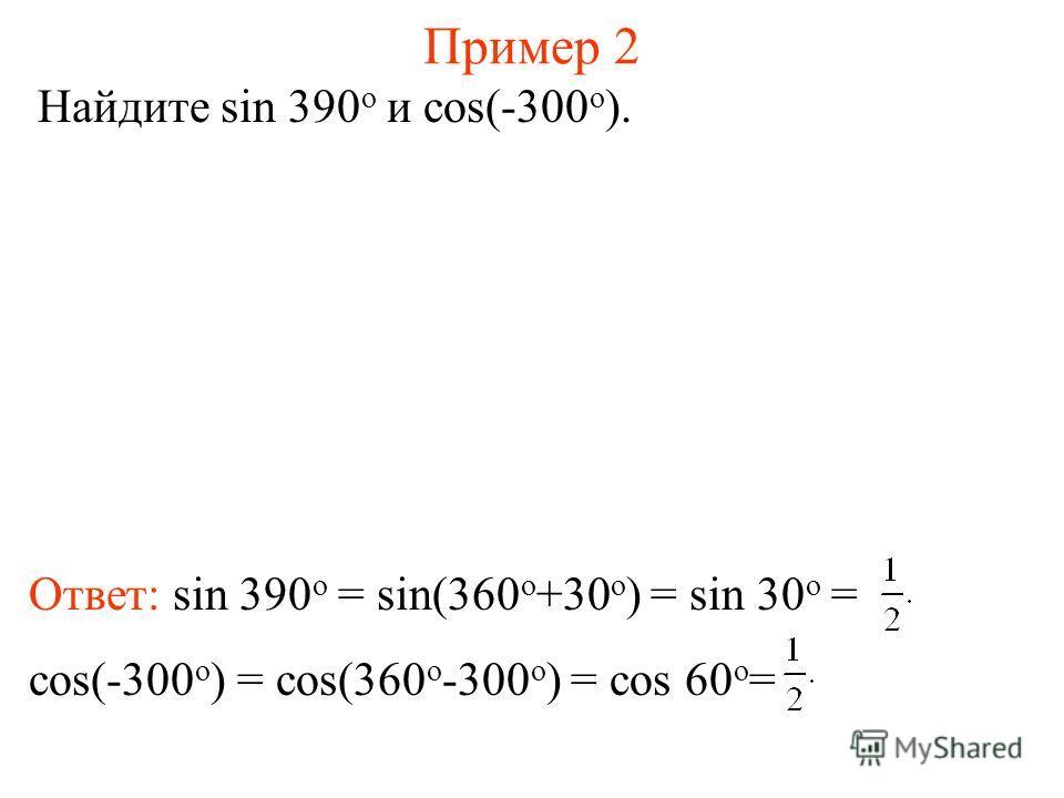 Пример 2 Найдите sin 390 о и cos(-300 о ). Ответ: sin 390 о = sin(360 о +30 о ) = sin 30 о = cos(-300 о ) = cos(360 о -300 о ) = cos 60 о =