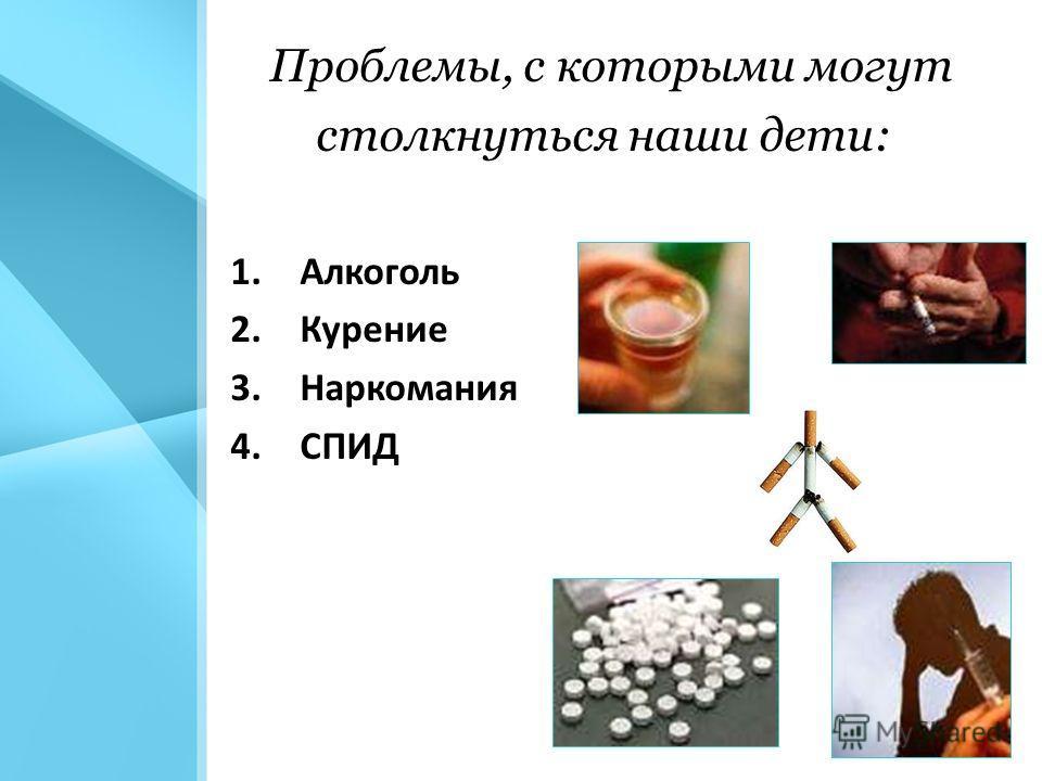 Проблемы, с которыми могут столкнуться наши дети: 1.Алкоголь 2.Курение 3.Наркомания 4.СПИД