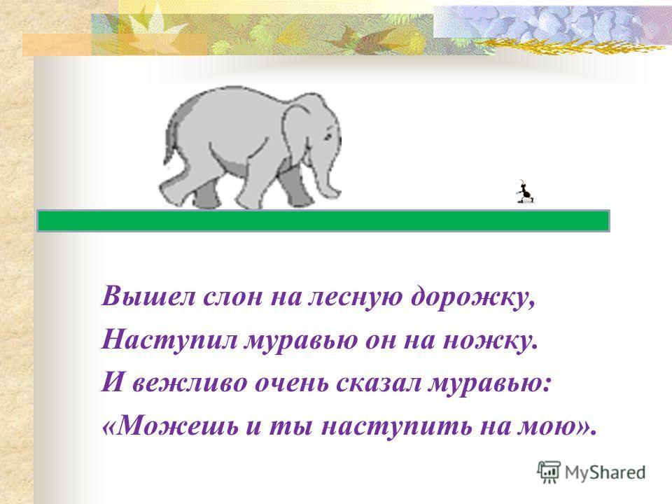 Вышел слон на лесную дорожку, Наступил муравью он на ножку. И вежливо очень сказал муравью: «Можешь и ты наступить на мою».