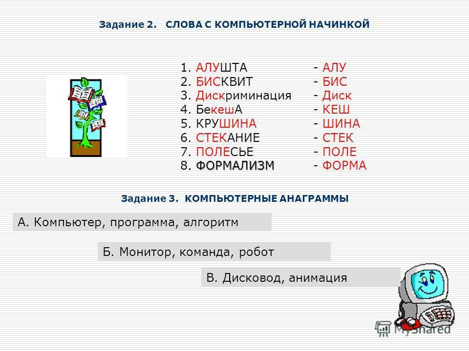 Задание 2. СЛОВА С КОМПЬЮТЕРНОЙ НАЧИНКОЙ 1. АЛУШТА 2. БИСКВИТ 3. Дискриминация 4. БекешА 5. КРУШИНА 6. СТЕКАНИЕ 7. ПОЛЕСЬЕ. ФОРМАЛИЗМ 8. ФОРМАЛИЗМ - АЛУ - БИС - Диск - КЕШ - ШИНА - СТЕК - ПОЛЕ - ФОРМА Задание 3. КОМПЬЮТЕРНЫЕ АНАГРАММЫ А. Компьютер, п