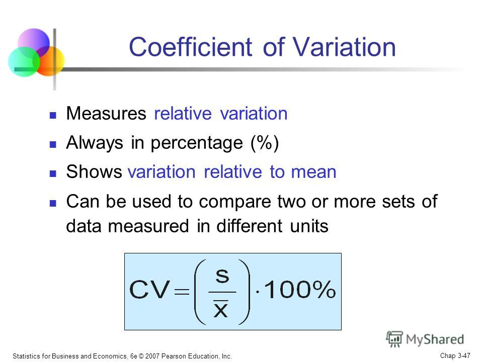 Statistics for Business and Economics, 6e © 2007 Pearson Education, Inc. Chap 3-46 contains about 95% of the values in the population or the sample contains about 99.7% of the values in the population or the sample The Empirical Rule 99.7%95%