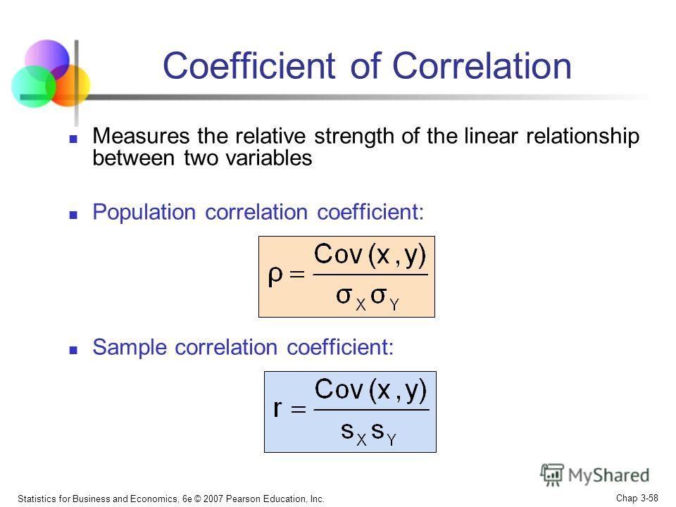Statistics for Business and Economics, 6e © 2007 Pearson Education, Inc. Chap 3-57 Covariance between two variables: Cov(x,y) > 0 x and y tend to move in the same direction Cov(x,y) < 0 x and y tend to move in opposite directions Cov(x,y) = 0 x and y