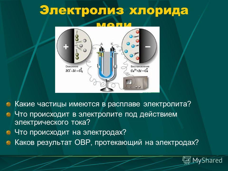 Электролиз хлорида меди Какие частицы имеются в расплаве электролита? Что происходит в электролите под действием электрического тока? Что происходит на электродах? Каков результат ОВР, протекающий на электродах?