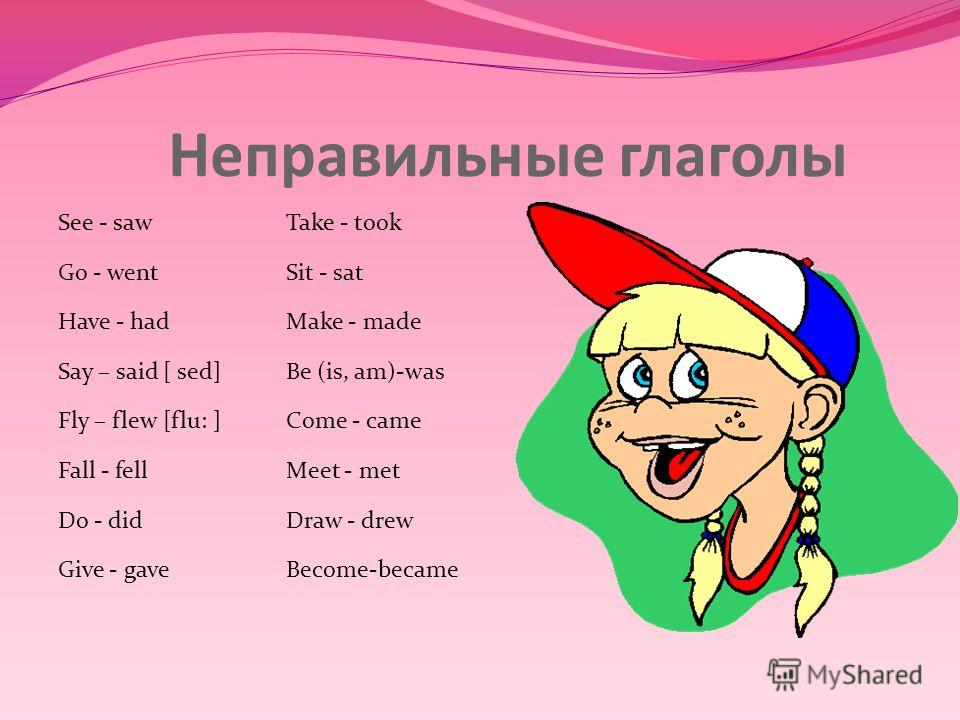 Неправильные глаголы See - sawTake - took Go - wentSit - sat Have - hadMake - made Say – said [ sed]Be (is, am)-was Fly – flew [flu: ]Come - came Fall - fellMeet - met Do - didDraw - drew Give - gaveBecome-became