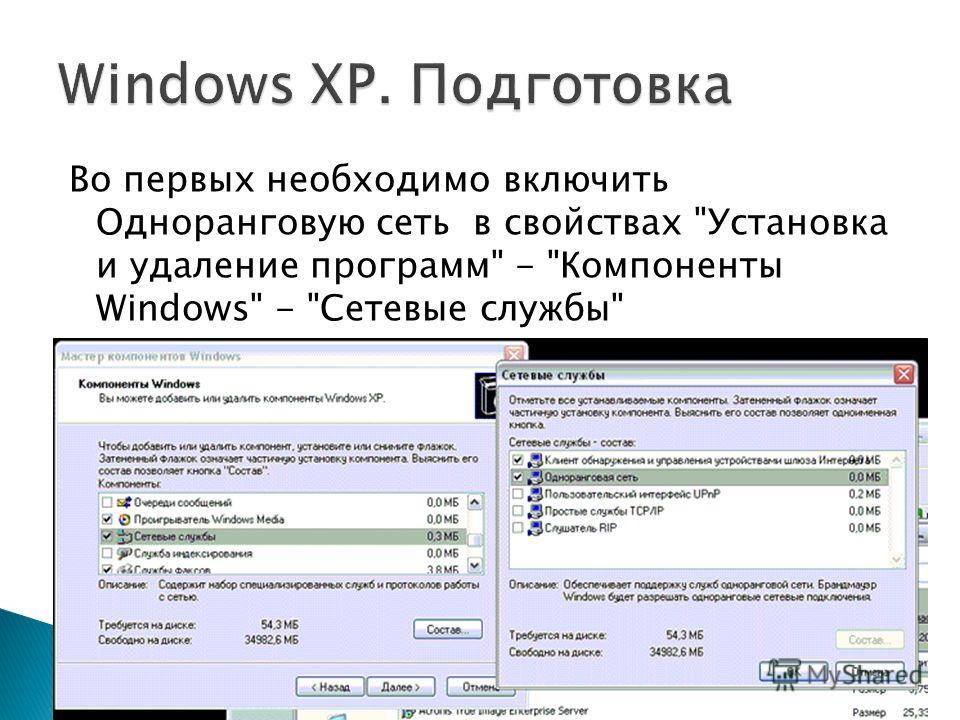 Во первых необходимо включить Одноранговую сеть в свойствах Установка и удаление программ - Компоненты Windows - Сетевые службы