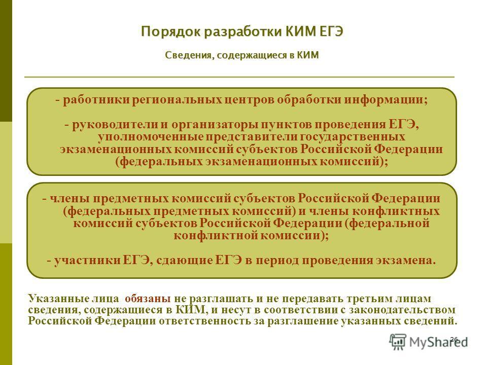 26 - члены предметных комиссий субъектов Российской Федерации (федеральных предметных комиссий) и члены конфликтных комиссий субъектов Российской Федерации (федеральной конфликтной комиссии); - участники ЕГЭ, сдающие ЕГЭ в период проведения экзамена.
