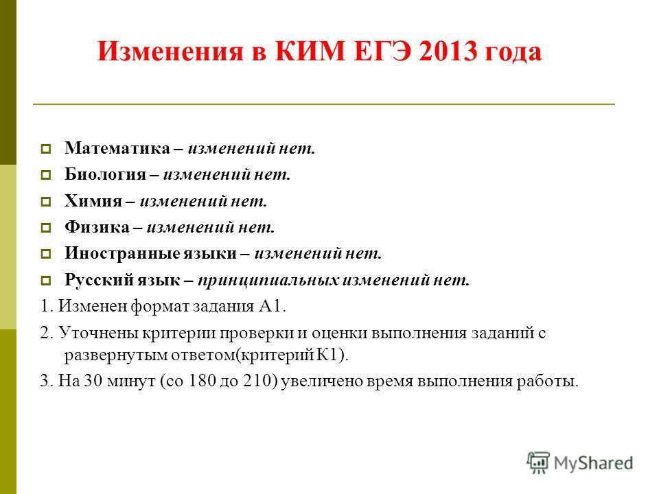 Изменения в КИМ ЕГЭ 2013 года Математика – изменений нет. Биология – изменений нет. Химия – изменений нет. Физика – изменений нет. Иностранные языки – изменений нет. Русский язык – принципиальных изменений нет. 1. Изменен формат задания А1. 2. Уточне