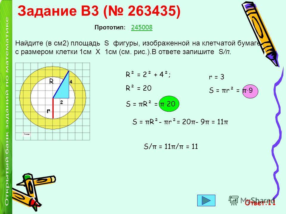 Задание B3 ( 263435) Найдите (в см2) площадь S фигуры, изображенной на клетчатой бумаге с размером клетки 1см Х 1см (см. рис.).В ответе запишите S/п. Прототип:245008 R 2 4 R² = 2² + 4²; R² = 20 S = πR² = π · 20 S = πr² = π ·9 r = 3 r S = πR²- πr²= 20