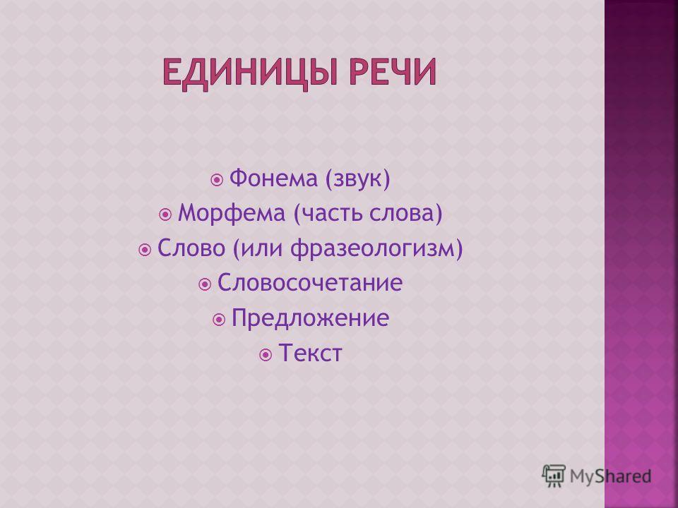 Фонема (звук) Морфема (часть слова) Слово (или фразеологизм) Словосочетание Предложение Текст