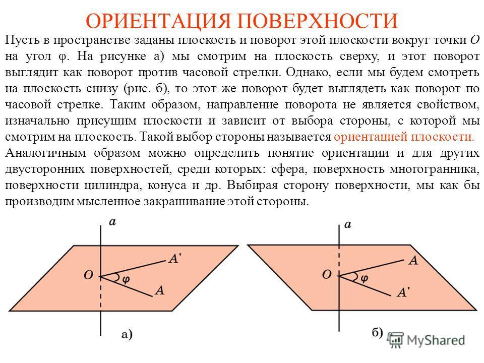 ОРИЕНТАЦИЯ ПОВЕРХНОСТИ Пусть в пространстве заданы плоскость и поворот этой плоскости вокруг точки О на угол φ. На рисунке а) мы смотрим на плоскость сверху, и этот поворот выглядит как поворот против часовой стрелки. Однако, если мы будем смотреть н