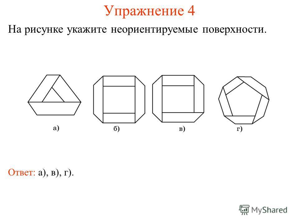 Упражнение 4 На рисунке укажите неориентируемые поверхности. Ответ: а), в), г).