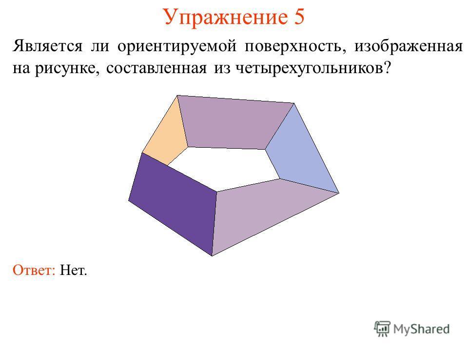 Упражнение 5 Является ли ориентируемой поверхность, изображенная на рисунке, составленная из четырехугольников? Ответ: Нет.