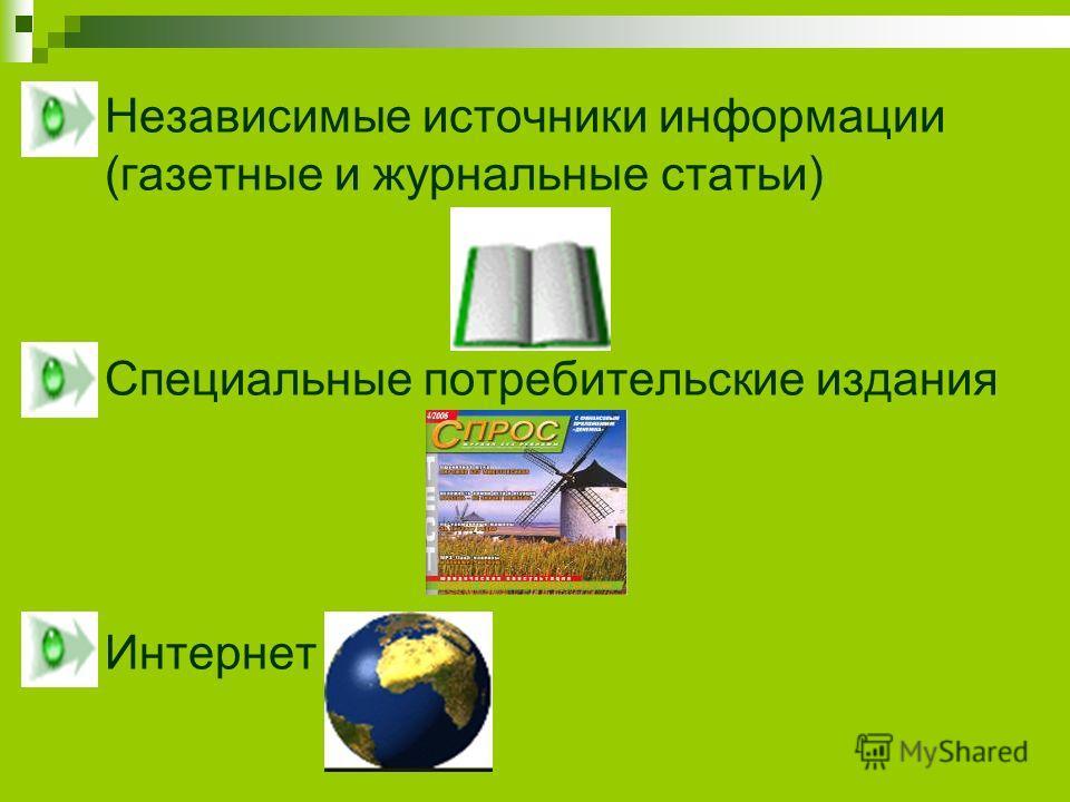 Независимые источники информации (газетные и журнальные статьи) Специальные потребительские издания Интернет