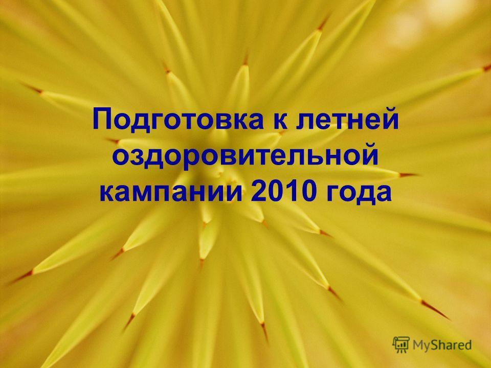 Подготовка к летней оздоровительной кампании 2010 года