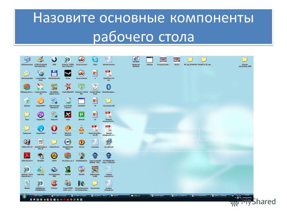 Назовите основные компоненты рабочего стола
