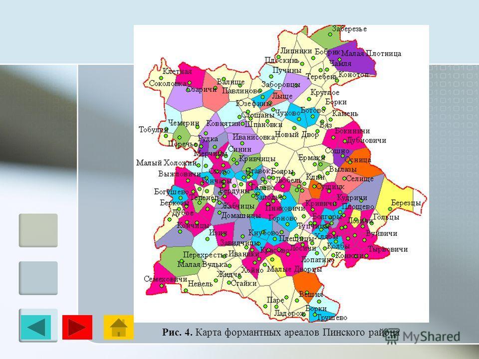 Рис. 4. Карта формантных ареалов Пинского района