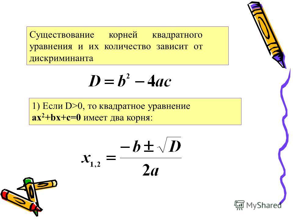 Существование корней квадратного уравнения и их количество зависит от дискриминанта 1) Если D>0, то квадратное уравнение ax 2 +bx+c=0 имеет два корня: