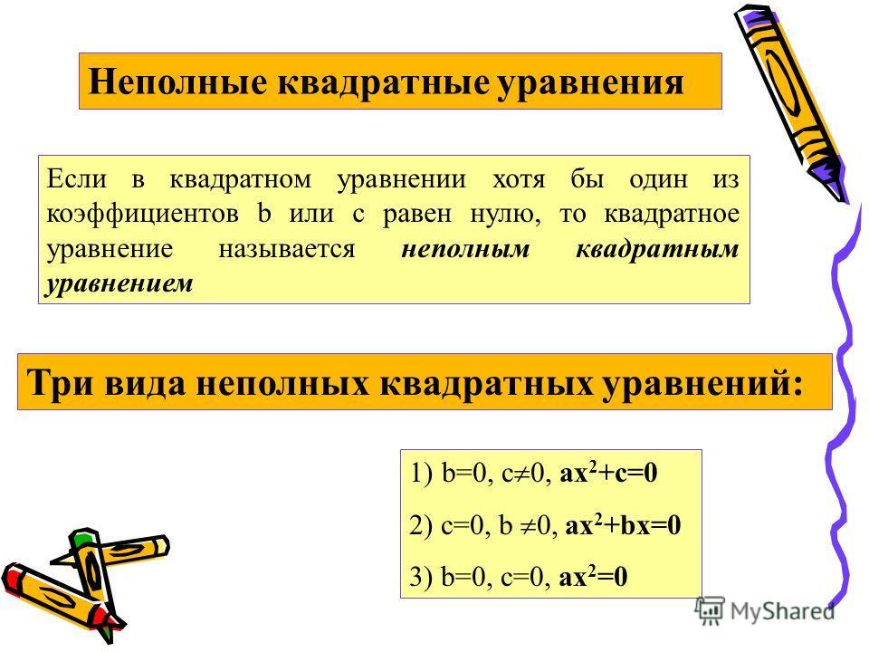 Неполные квадратные уравнения Если в квадратном уравнении хотя бы один из коэффициентов b или c равен нулю, то квадратное уравнение называется неполным квадратным уравнением Три вида неполных квадратных уравнений: 1)b=0, c 0, ax 2 +c=0 2) c=0, b 0, a