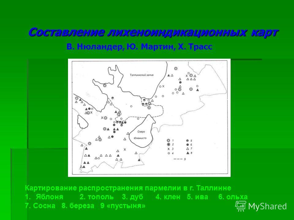 Составление лихеноиндикационных карт В. Нюландер, Ю. Мартин, Х. Трасс Картирование распространения пармелии в г. Таллинне 1.Яблоня 2. тополь 3. дуб 4. клен 5. ива 6. ольха 7. Сосна 8. береза 9 «пустыня»