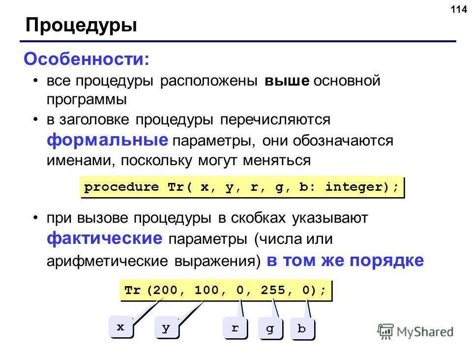 114 Процедуры Особенности: все процедуры расположены выше основной программы в заголовке процедуры перечисляются формальные параметры, они обозначаются именами, поскольку могут меняться при вызове процедуры в скобках указывают фактические параметры (