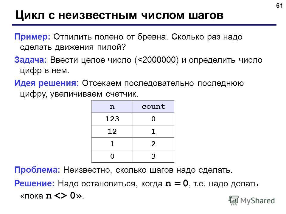 61 Цикл с неизвестным числом шагов Пример: Отпилить полено от бревна. Сколько раз надо сделать движения пилой? Задача: Ввести целое число (