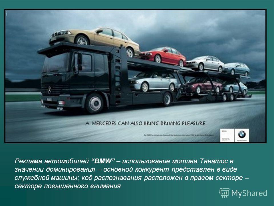 Реклама автомобилей BMW – использование мотива Танатос в значении доминирования – основной конкурент представлен в виде служебной машины; код распознавания расположен в правом секторе – секторе повышенного внимания