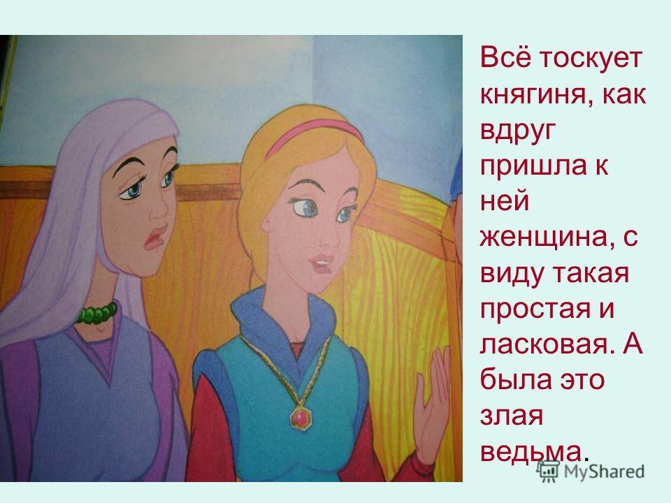 Всё тоскует княгиня, как вдруг пришла к ней женщина, с виду такая простая и ласковая. А была это злая ведьма.