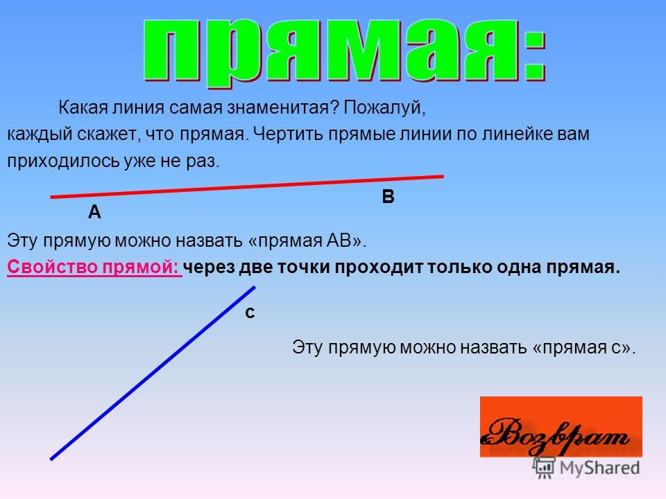 Прямая; Отрезок; Луч; Многоугольник; Прямоугольник; Окружность; Угол; Треугольник; Прямоугольный параллелепипед.