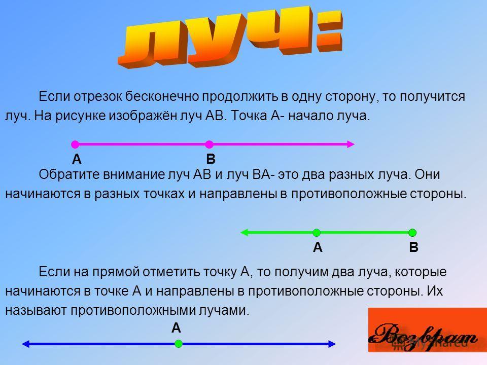 Если к точкам А и В приложить линейку и по ней провести от А к В линию, то получится отрезок АВ. Тот же отрезок можно обозначить ВА. Точки А и В называют концами отрезка АВ. Любые две точки можно соединить только одним отрезком. Отрезки можно сравнив