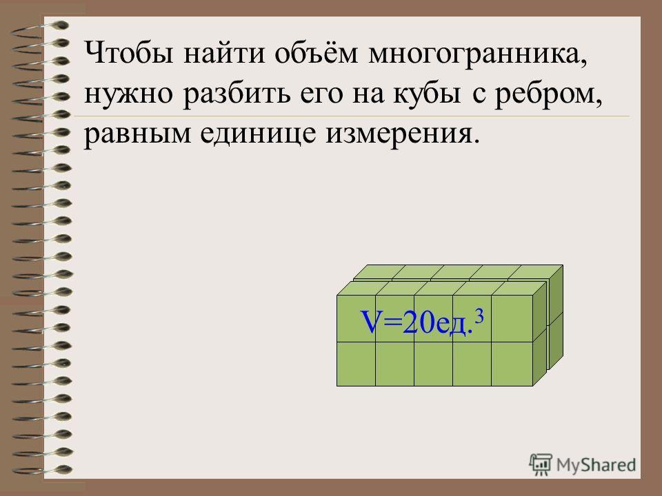 Положительная величина, характеризующая часть пространства, занимаемую телом, называется объемом тела.