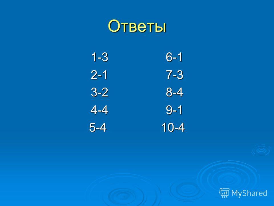 Ответы 1-3 6-1 2-1 7-3 3-2 8-4 4-4 9-1 5-4 10-4