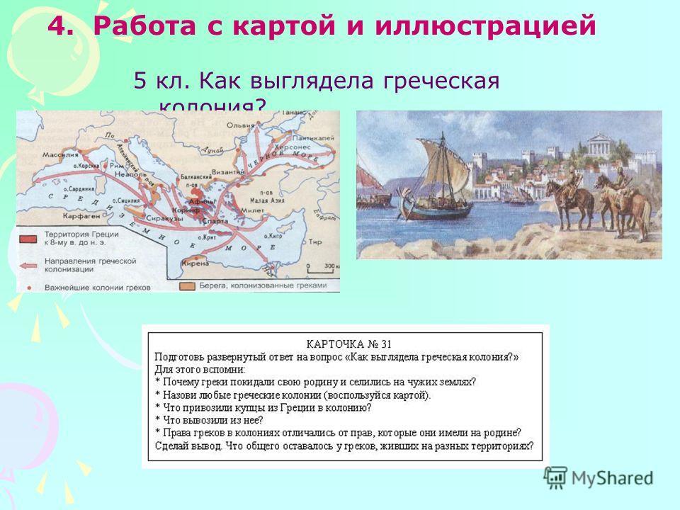 4.Работа с картой и иллюстрацией 5 кл. Как выглядела греческая колония?
