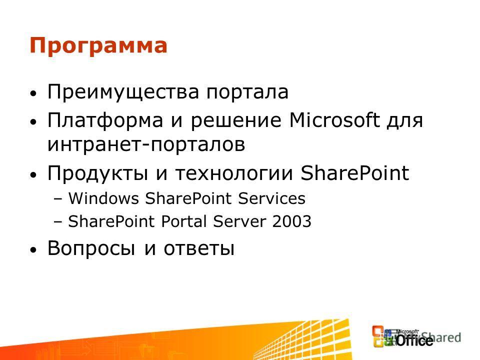 Программа Преимущества портала Платформа и решение Microsoft для интранет-порталов Продукты и технологии SharePoint –Windows SharePoint Services –SharePoint Portal Server 2003 Вопросы и ответы