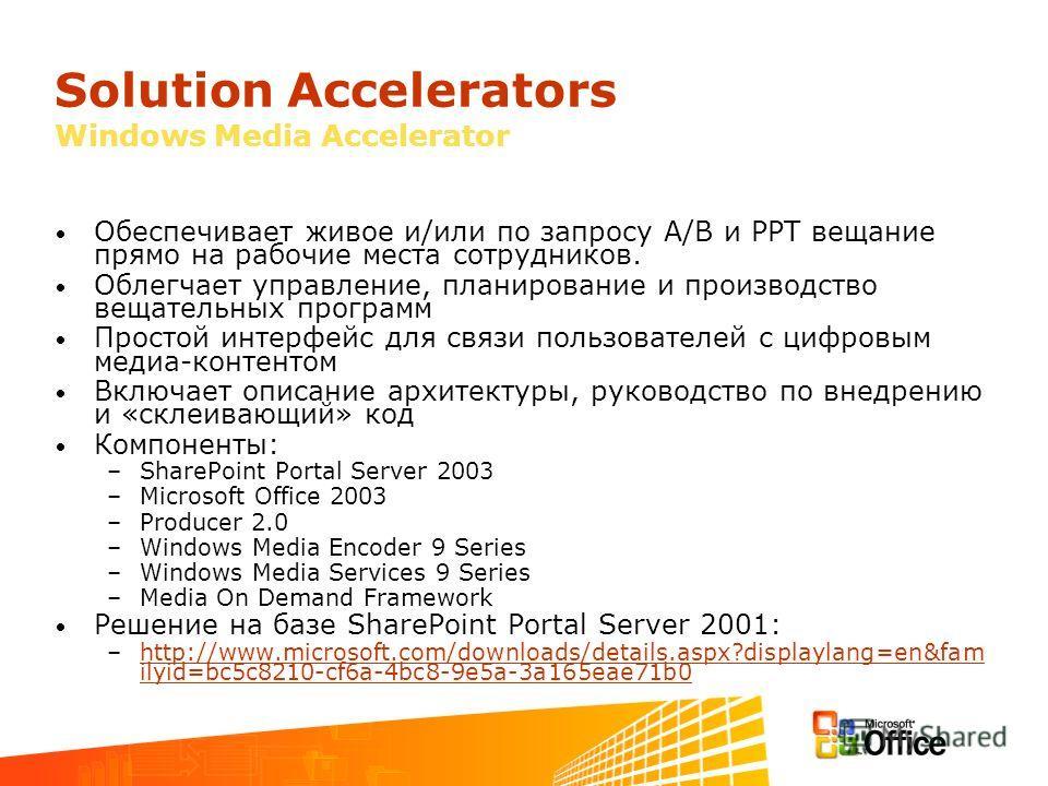 Solution Accelerators Windows Media Accelerator Обеспечивает живое и/или по запросу А/В и PPT вещание прямо на рабочие места сотрудников. Облегчает управление, планирование и производство вещательных программ Простой интерфейс для связи пользователей
