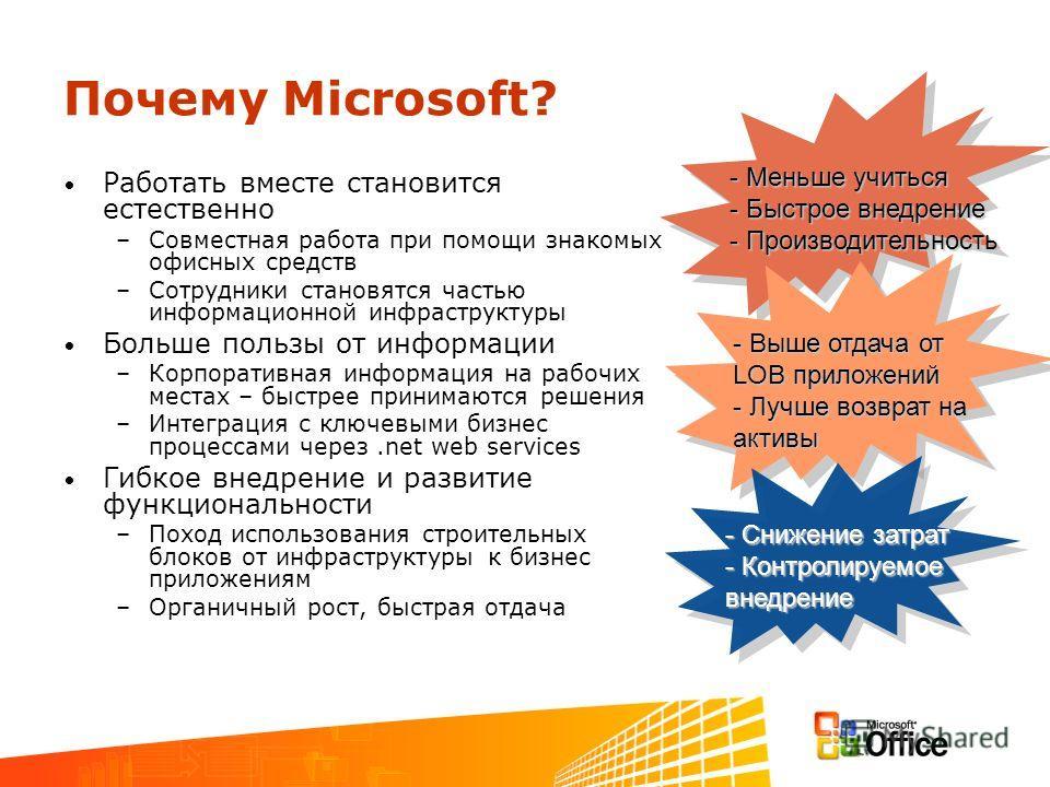 Почему Microsoft? Работать вместе становится естественно –Совместная работа при помощи знакомых офисных средств –Сотрудники становятся частью информационной инфраструктуры Больше пользы от информации –Корпоративная информация на рабочих местах – быст