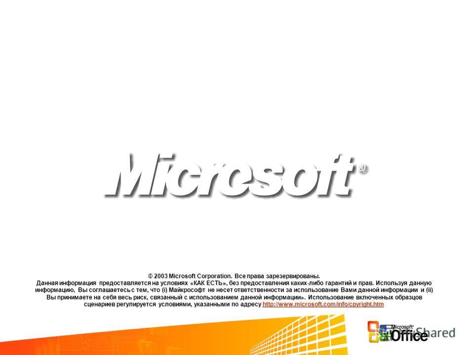 © 2003 Microsoft Corporation. Все права зарезервированы. Данная информация предоставляется на условиях «КАК ЕСТЬ», без предоставления каких-либо гарантий и прав. Используя данную информацию, Вы соглашаетесь с тем, что (i) Майкрософт не несет ответств