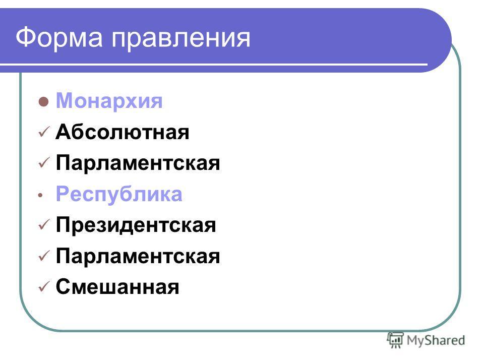 Форма правления Монархия Абсолютная Парламентская Республика Президентская Парламентская Смешанная