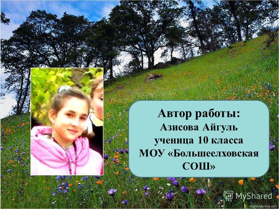 Автор работы: Азисова Айгуль ученица 10 класса МОУ «Большеелховская СОШ»