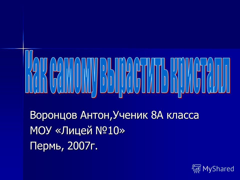 Воронцов Антон,Ученик 8А класса МОУ «Лицей 10» Пермь, 2007г.