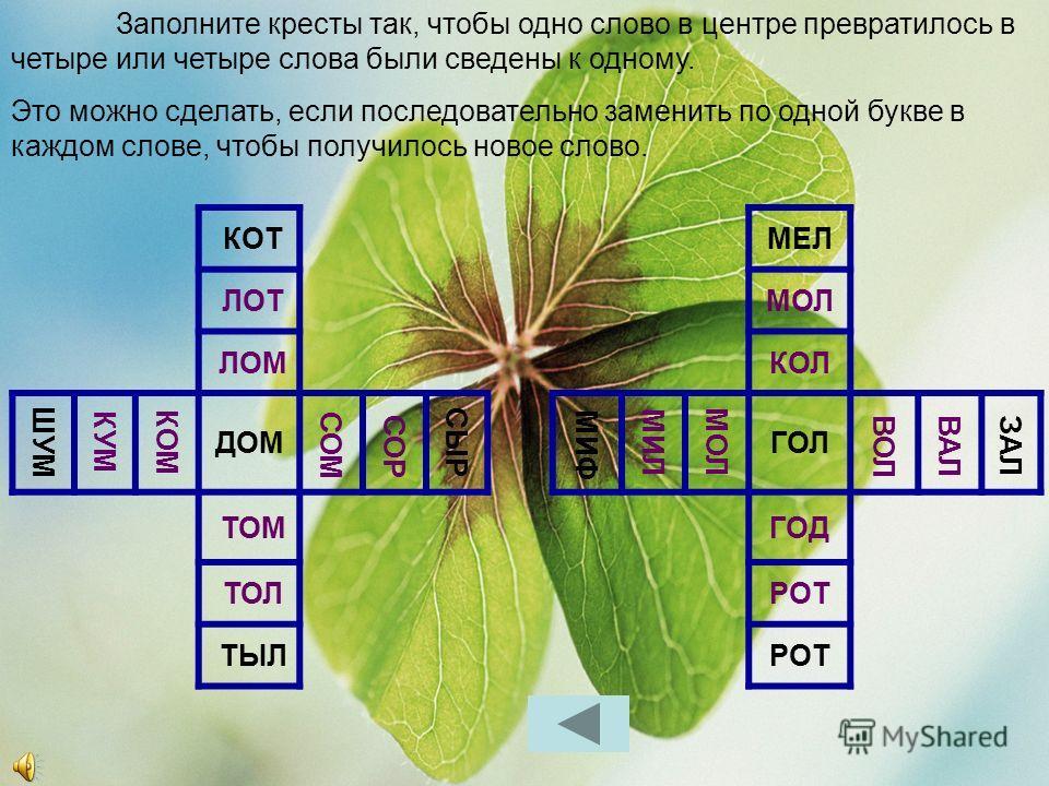 ПЕРЕВЕРТЫШИ – это слова, которые читаются справа налево и слева направо, с начала и с конца, иногда по-разному (1 и 4), а иногда одинаково (2 и 3). Найдите такие слова! 3. 4. 1. 2. КАЗАКПОТОП КОТДЕДЗАКАЗРОТОР НОСБОБШАЛАШАРАП ГОДПОПДОХОДКЛОП ВОРКОККОМ