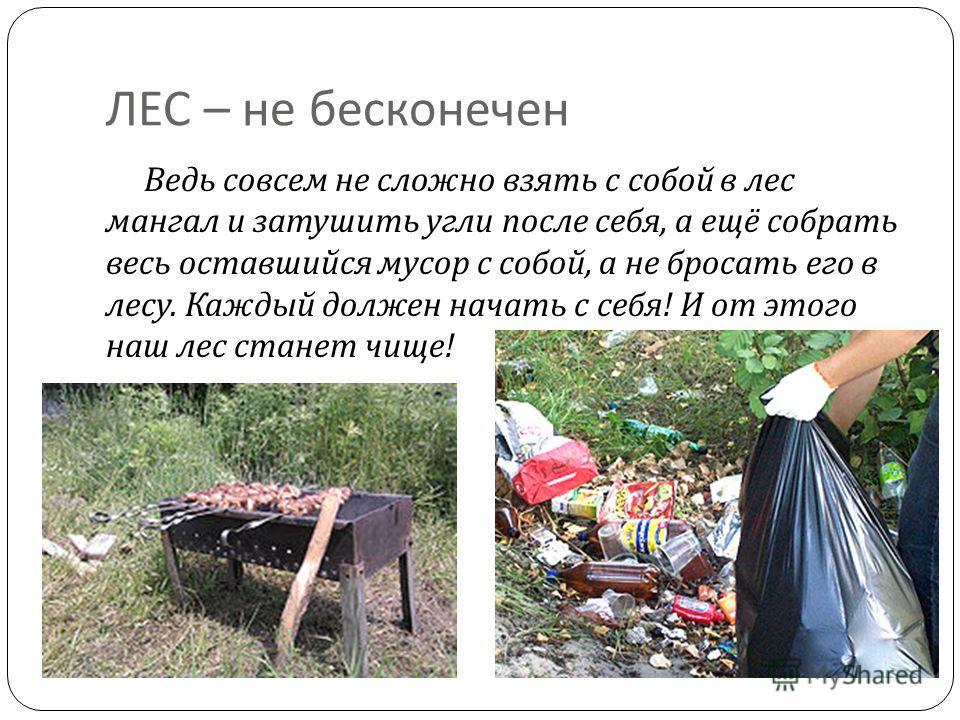 ЛЕС – не бесконечен Ведь совсем не сложно взять с собой в лес мангал и затушить угли после себя, а ещё собрать весь оставшийся мусор с собой, а не бросать его в лесу. Каждый должен начать с себя ! И от этого наш лес станет чище !
