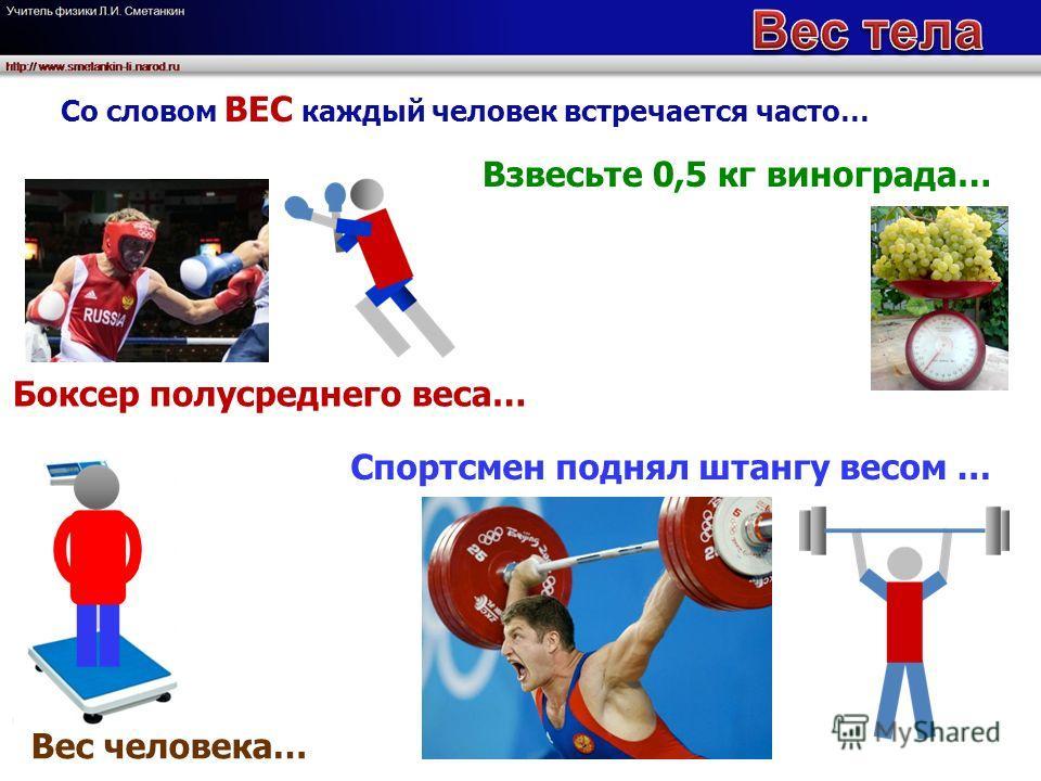 Со словом ВЕС каждый человек встречается часто… Спортсмен поднял штангу весом … Взвесьте 0,5 кг винограда… Вес человека… Боксер полусреднего веса…