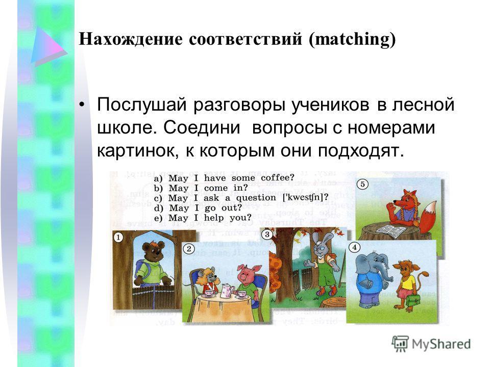Нахождение соответствий (matching) Послушай разговоры учеников в лесной школе. Соедини вопросы с номерами картинок, к которым они подходят.