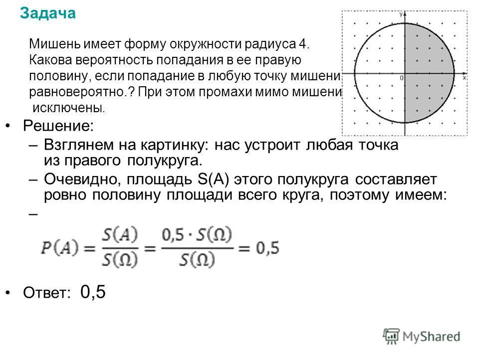 Задача Мишень имеет форму окружности радиуса 4. Какова вероятность попадания в ее правую половину, если попадание в любую точку мишени равновероятно.? При этом промахи мимо мишени исключены. Решение: –Взглянем на картинку: нас устроит любая точка из