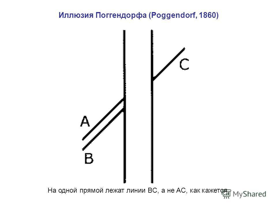 Иллюзия Поггендорфа (Poggendorf, 1860) На одной прямой лежат линии BC, а не AC, как кажется.