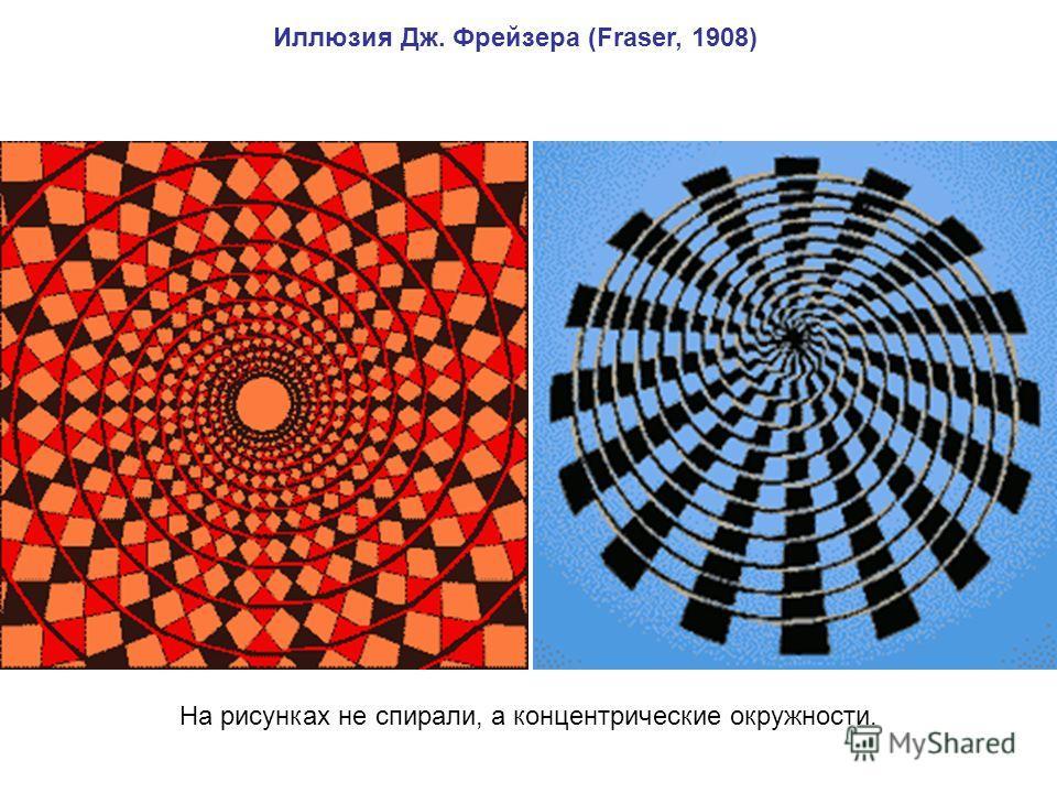 Иллюзия Дж. Фрейзера (Fraser, 1908) На рисунках не спирали, а концентрические окружности.
